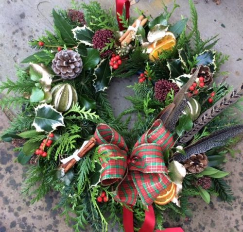 christmas wreath in a box