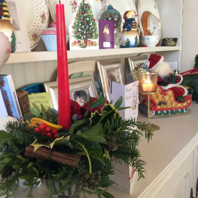 Rustic christmas arrangement