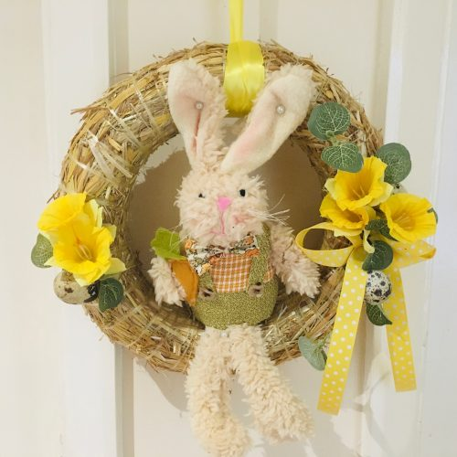 Easter Bunny in Straw Ring