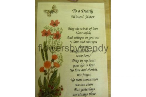 To A Dearly Missed Sister