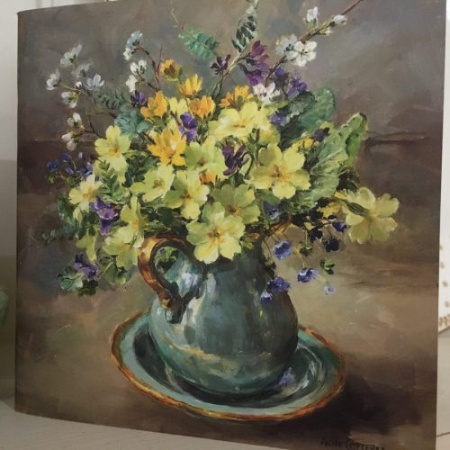 Anne Cottrell Primroses In Jug