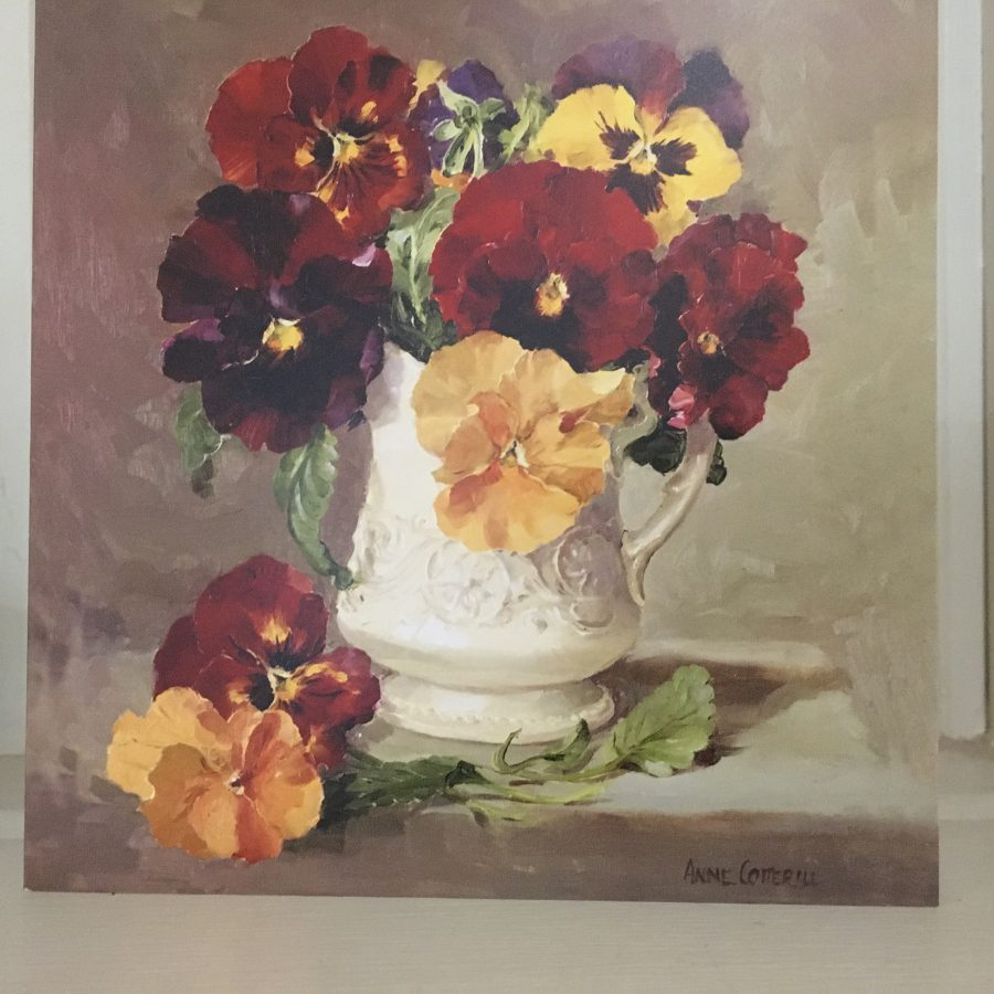 Anne Cotterill Pansies In Cream Jug